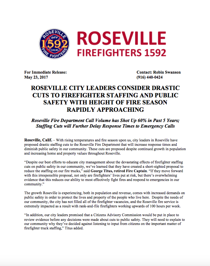 ROSEVILLE CITY LEADERS CONSIDER DRASTIC CUTS TO FIREFIGHTER STAFFING AND PUBLIC SAFETY WITH HEIGHT OF FIRE SEASON RAPIDLY APPROACHING